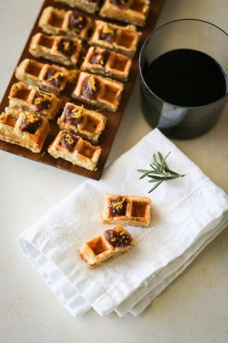 Waffle Bites with Rosemary Apple Butter