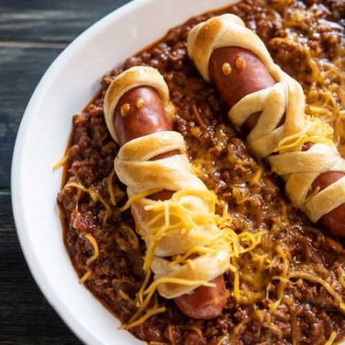 Chili Cheese Mummy Hot Dogs