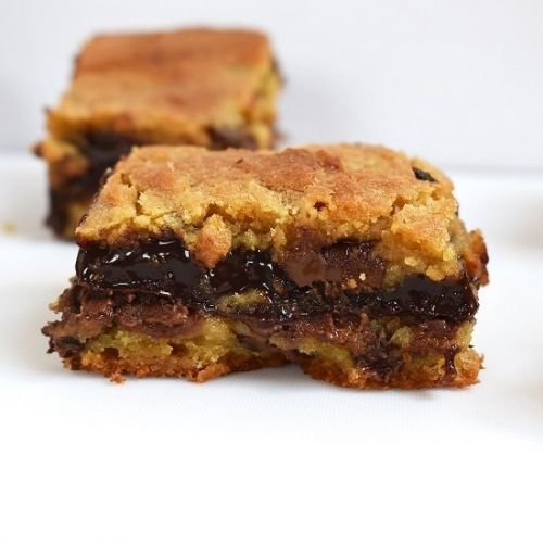 Chocolate Fudge Stuffed Cookie Bars