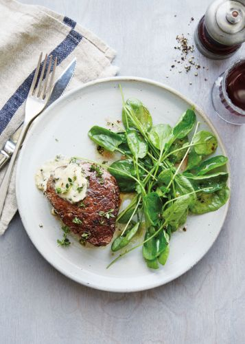 Filets Mignons with Watercress and Parmesan Butter