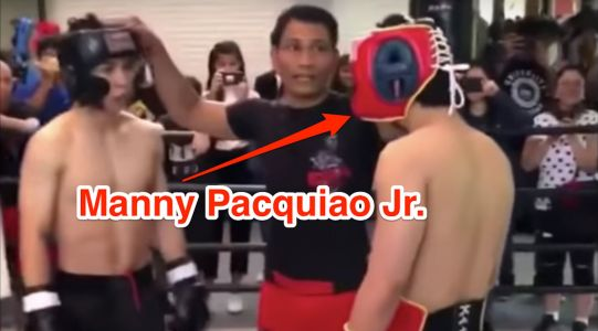Manny Pacquiao's son is also a fighter, and he even knocked down an opponent in a recent sparring session
