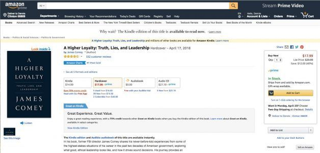 Amazon is limiting reviews on James Comey's new book - and some people are furious