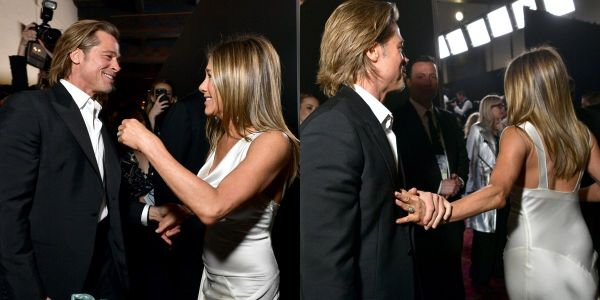 Brad Pitt and Jennifer Aniston had an adorable backstage moment after winning at the SAG Awards and people can't stop talking about it