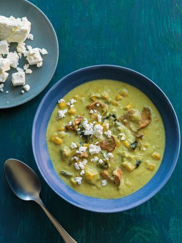 Creamy Poblano Chile Soup with Corn and Mushrooms
