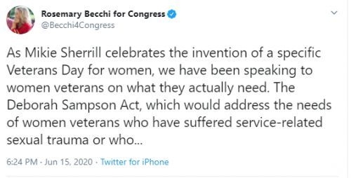 EMBARRASSING: Becchi Attacks Veteran in Ill-Advised, Ill-Timed, Factually Inaccurate Tweet on Deborah Sampson Act
