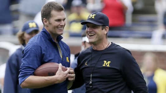 Michigan coach Jim Harbaugh wants to see Tom Brady statue on campus