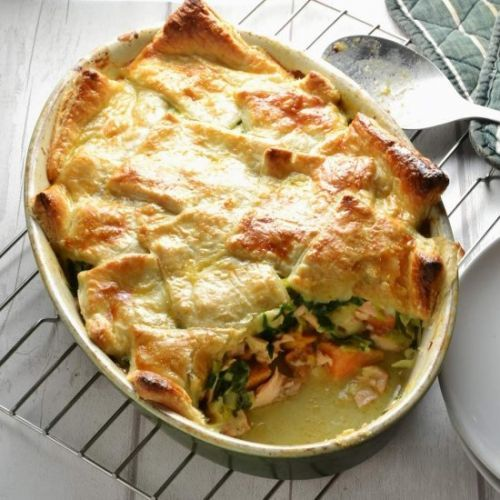 Salmon Pot Pie with Leek + Spinach