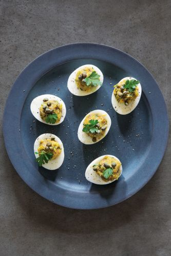 Stuffed Eggs with Anchovies, Capers and Parsley