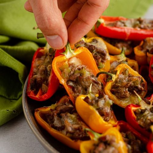 Mini philly cheesesteak peppers