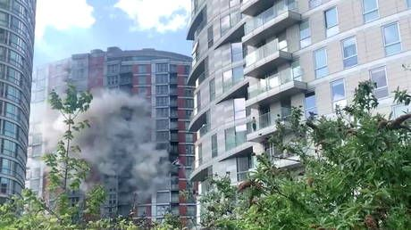 19-storey tower block reportedly clad with flammable panelling catches fire in London