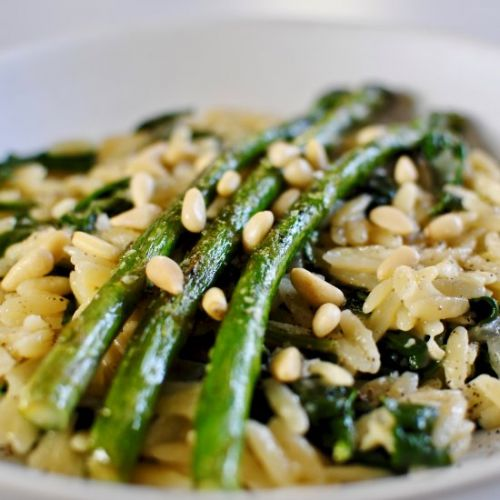 Asparagus & Spinach Orzo Risotto