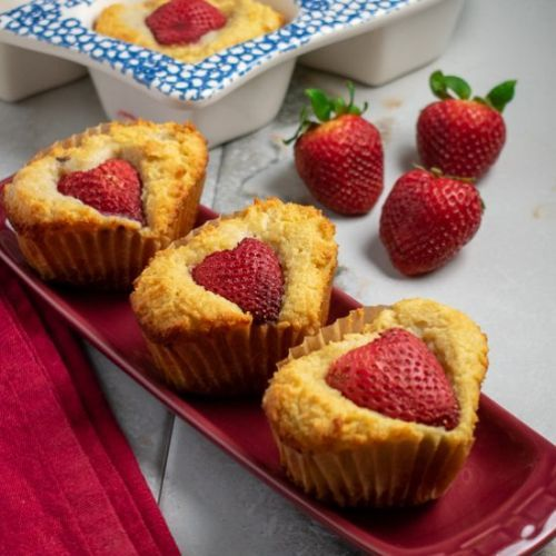 Strawberry Almond Heart Cakes