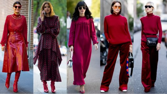 Showgoers Dressed In Head-to-Toe Red On Day 2 of Milan Fashion Week