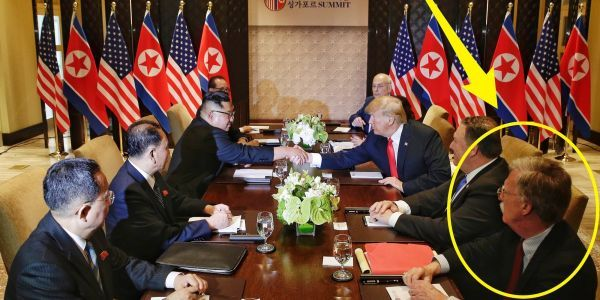 The moment when Kim Jong Un met John Bolton, Trump's hawkish national security adviser who North Korea called 'human scum'