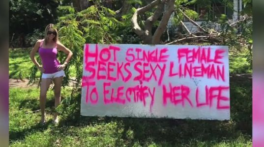 Florida woman makes 'sexy' sign to get power back on after Irma