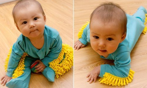 Amazon is selling a baby mop onesie so you can both dress your kid and clean your home