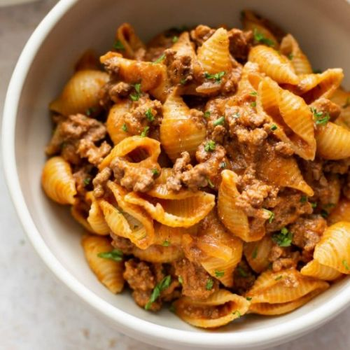 Easy creamy beef and shells