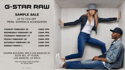 G-Star Raw Sample Sale, 2/25 - 3/1, Los Angeles