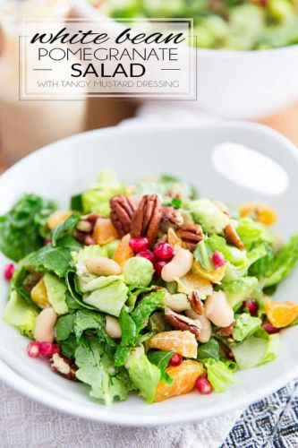 White Bean Pomegranate Salad with Tangy Mustard Dressing - What The Health Book Giveaway