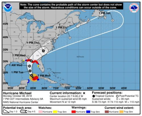 The Entire Florida Panhandle Is Now Under a Hurricane Warning As Michael Approaches