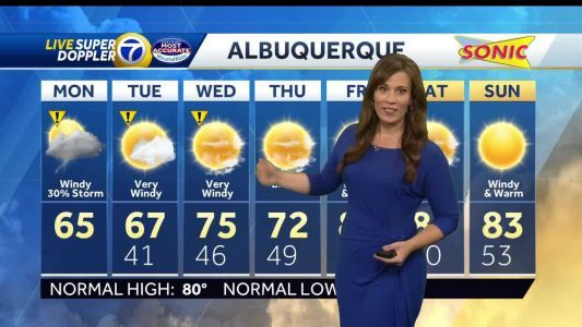 Windy and cool with scattered showers and thunderstorms possible in Albuquerque Monday After Noon