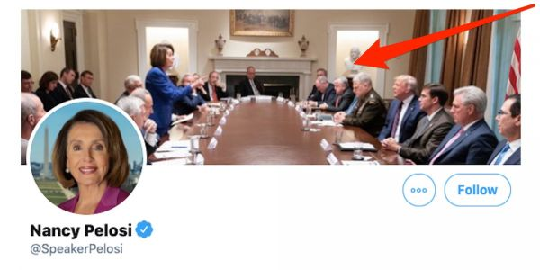 Nancy Pelosi used a photo that Trump tweeted to accuse her of having a 'meltdown,' and made it her cover photo