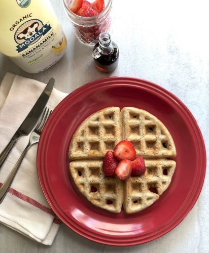Dairy-Free Sourdough Waffles Made with Banana Milk