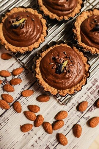 Vegan Chocolate Almond Mousse Tarts