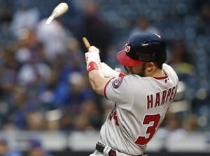 Shear Power! Bryce Harper breaks bat in two on long home run