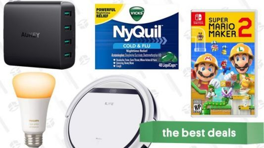 Monday's Best Deals: $112 Robotic Vacuum, Mario Maker 2, Philips Hue, and More