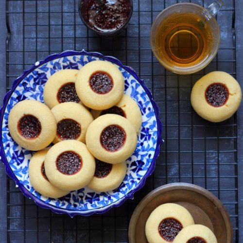 Custard powder thumbprint cookies