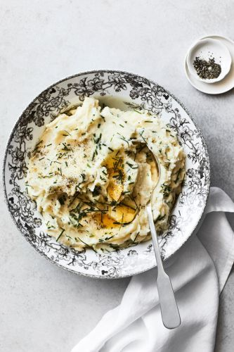 Mashed Potatoes with Herb-Infused Cream and Chives