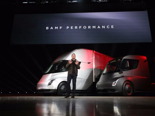 Tesla is popping after its semi truck and roadster announcements