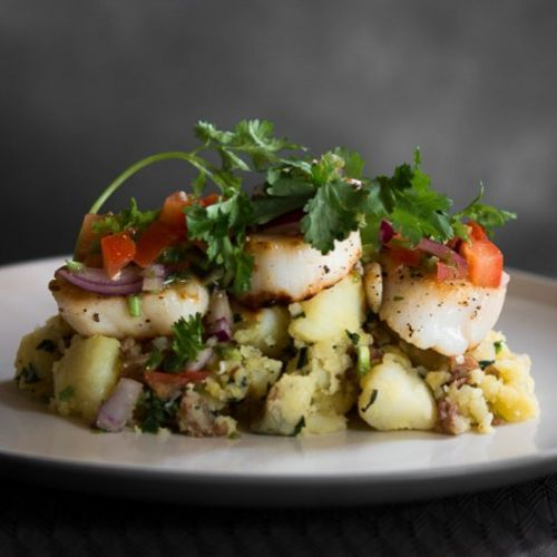 Seared Scallops on Crushed Potatoes