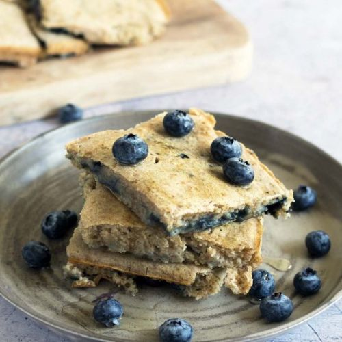 Oven-baked blueberry pancakes