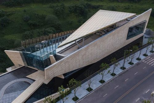 One Sino Park Is a Striking Deconstructivist Building on a Cliffside in China