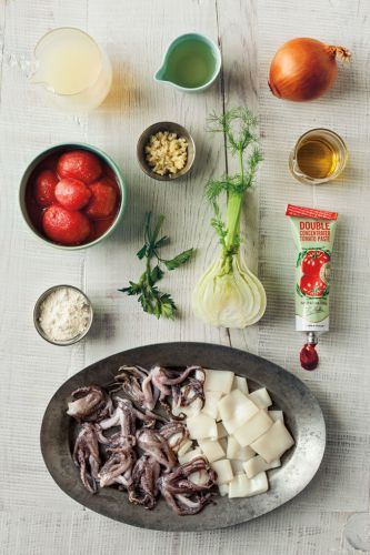 Braised Squid with Tomatoes and Fennel