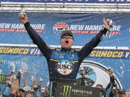 Harvick wins at New Hampshire in thriller