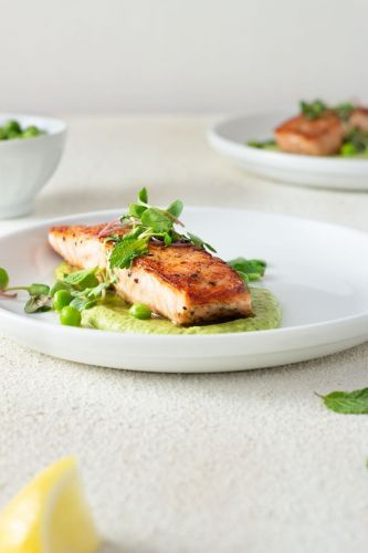 Seared Salmon and Pea Puree with Yogurt and Mint