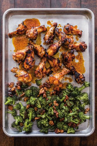 Spicy Asian Chicken Drumettes with Broccoli and Walnuts