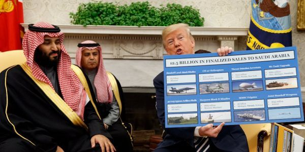 Trump showed off Saudi Arabia's massive US military buys in giant charts - here's everything that's on them