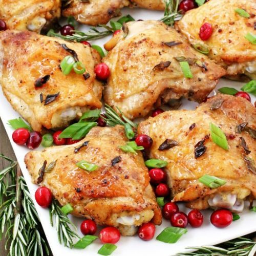 Rosemary Cranberry Baked Chicken Thighs