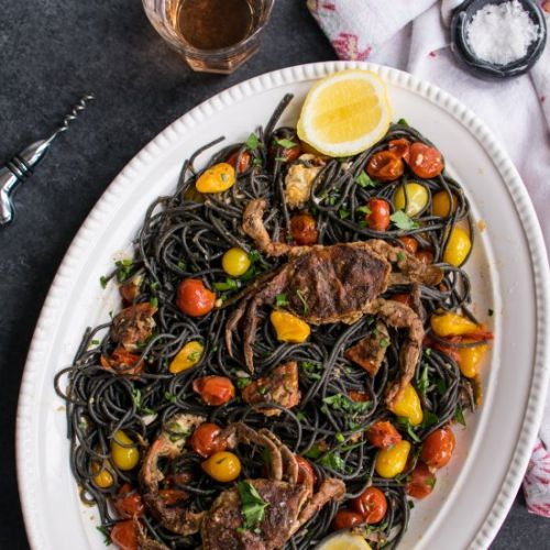 Squid Ink Pasta & Soft Shell Crab