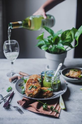Crab Cakes with Chimichurri Sauce and Chardonnay