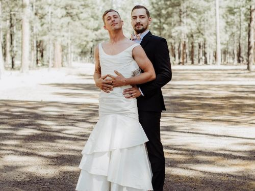 A bride made her brother take her place in her own wedding photos for an epic prank on her husband - and the photos are going viral