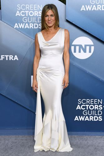 Dazzling in White! Jennifer Aniston Stuns in Silk Gown at the 2020 SAG Awards