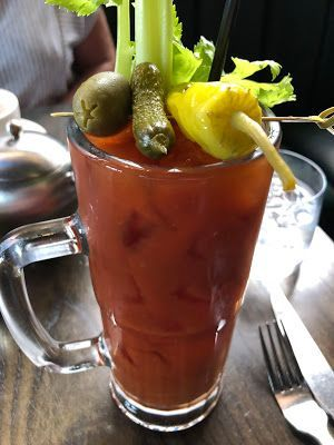 Brunch at Ledger Restaurant & Bar: Bloody Mary, Cinnamon Roll & Fried Chicken