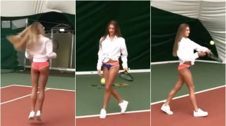 Aleksandra the ace! Russian Gymnast Soldatova serves up scorching tennis video in her UNDERWEAR