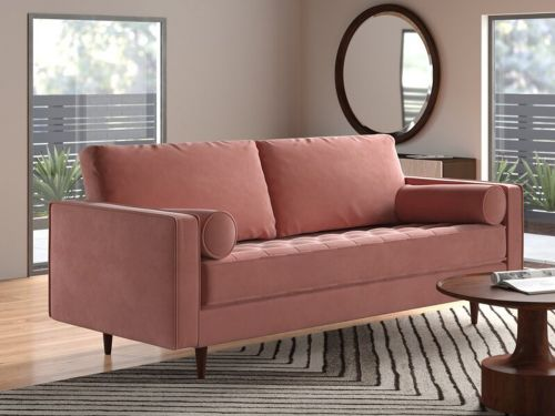 This velvet AllModern couch looks more expensive than it really is - I'm impressed by the quality and durability