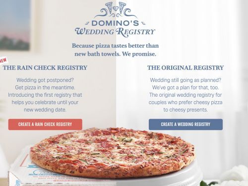 Canceled Your Wedding Because of COVID-19? Console Yourself With Domino's Wedding Registry